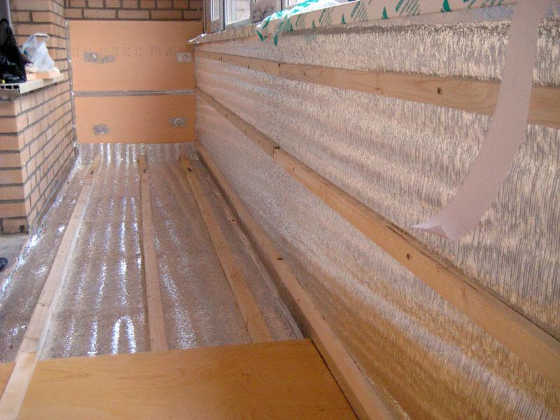 Утепление балкона частями